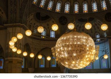 ANKARA, TURKEY - MARCH 16, 2019: Kocatepe Mosque interior details