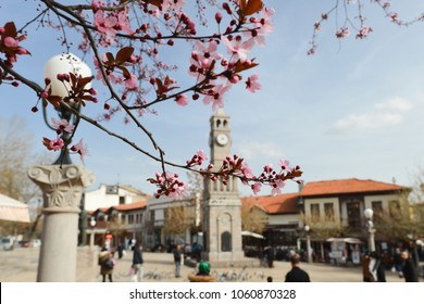 ANKARA / TURKEY - MARCH 18, 2018:  Hamamonu District during springtime. Recently renovated Hamamonu is the new tourist magnet in Ankara