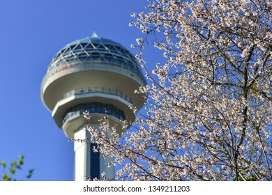 ANKARA / TURKEY - MARCH 25, 2019: Atakule and spring blossoms. Atakule is one one of the primary landmarks of Ankara.