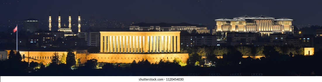 Ankara, Turkey -  Mausoleum of Ataturk and Presidential Palace and Millet Mosque in the Presidential Compound at night