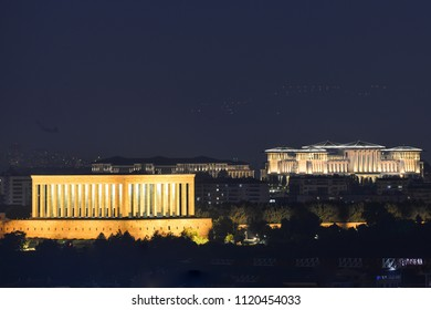 Ankara, Turkey -  Mausoleum of Ataturk and Presidential Palace at night