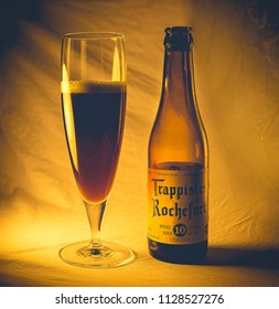 ANKARA, TURKEY - May 05, 2018: Belgian trappist beer Rochefort 10 waiting to be consumed. Brewed by the trappist monks, Rochefort is considered to be one of the best beers of the world.