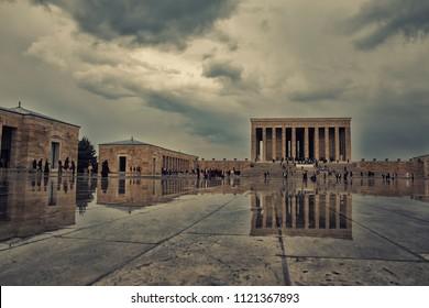 Ankara, Turkey - MAY 10, 2018: Anitkabir in Ankara Turkey. Anitkabir is Mausoleum of Ataturk.