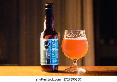Ankara, Turkey - May 11, 2020: Bottle of Punk Ipa post modern classic, from the Brewdog brewery on wooden background.