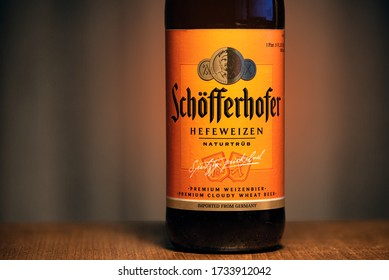 Ankara, Turkey - May 11, 2020: Bottle of Schofferhofer, the first wheat beer brewed outside Bavaria.