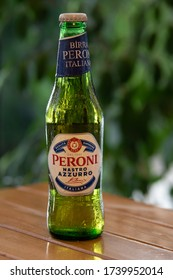 Ankara, Turkey - May 11, 2020: Bottle of Peroni, one of the most popular and cheao Italian lagers in the market.