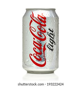 ANKARA TURKEY - May 17, 2014 Editorial photo of Light Coca-Cola can on White Background. Coca-Cola Company is the most popular market leader in Turkey.