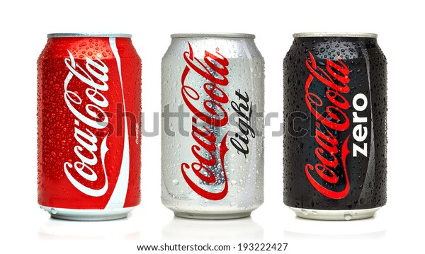 ANKARA TURKEY - May 17, 2014 Editorial photo of Coca-Cola cans on White Background. Coca-Cola Company is the most popular market leader in Turkey.
