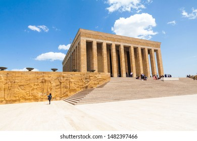 Ankara, Turkey, May 2019 : Vacation in Turkey view of Ataturk Mausoleum or better known as Anitkabir during summer