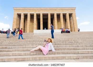Ankara, Turkey, May 2019 : Vacation in Turkey view of Ataturk Mausoleum or better known as Anitkabir during summer with tourist model
