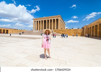 Ankara, Turkey, May 2019 : Vacation in Turkey view of Ataturk Mausoleum or better known as Anitkabir with tourist model