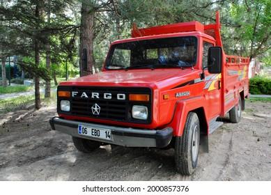 Ankara Turkey. May 2021. Red Dodge Chrysler Fargo AS 250 Pickup Truck produced by local Askam company. Discontinued Fargo Model. Pickup Truck.