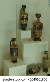 ANKARA, TURKEY - MAY 21, 2014 -  Greek amphora urn from classical 5th century BCE,  Museum of Anatolian Civilization, Ankara, Turkey