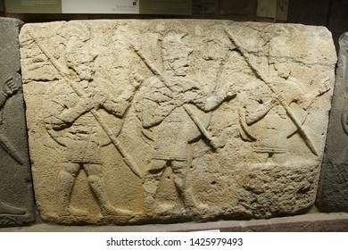 ANKARA, TURKEY - MAY 21, 2014 -  Hittite warriors, Orthostat steles from Kargama about 800 BCE,  Ankara, Turkey