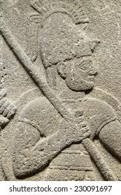 ANKARA, TURKEY - MAY 21, 2014 -  Detail, soldier carrying spear from Kargama about 800 BCE,  Ankara, Turkey