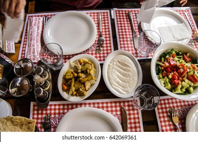 ANKARA, TURKEY - MAY 21, 2014 - Mezes and salads for Turkish lunch  in   Ankara, Turkey