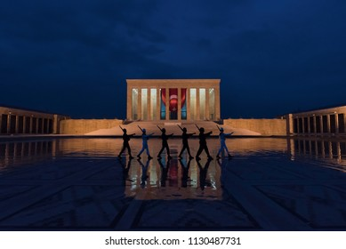 Ankara, Turkey - MAY 21, 2016: Guards changing shifts with a special ceremony in Anıtkabir, Ankara, Turkey. Anitkabir is the mausoleum of the founder of Turkish Republic, Mustafa Kemal Ataturk.