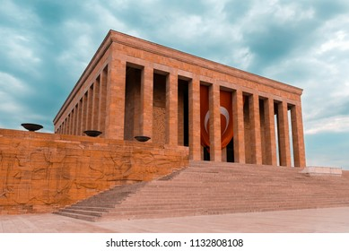 Ankara, Turkey - May 21, 2016: Anitkabir is the mausoleum of the founder of Turkish Republic, Mustafa Kemal Ataturk. Anitkabir is one of the historic places that Turkish people visit frequently.