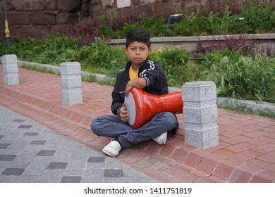ANKARA, TURKEY, May 25, 2019: of Ankara, Turkey.Disabled children playing Darbuka.Play Ethnic Drum.