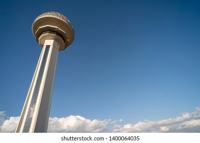 ANKARA, TURKEY, MAY 3, 2019: View of Atakule tower with copy space, Atakule is a famous mall and sightseeing tower in Ankara, the capital city of Turkey.