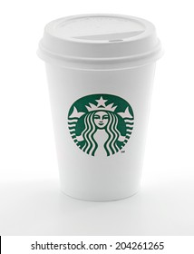Ankara, Turkey - May 31, 2012: Cup of Starbucks coffee with new logo isolated on white background