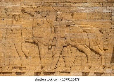 ANKARA, TURKEY, MAY 4, 2019: Detail from the reliefs on the outer walls of Anitkabir, the mausoleum of Mustafa Kemal Ataturk, founder of modern Turkish Republic.