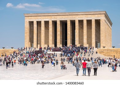ANKARA, TURKEY, MAY 4, 2019: People visiting Anitkabir; the mausoleum of Mustafa Kemal Ataturk, the leader of the Turkish War of Independence and the founder and first President of Turkey.