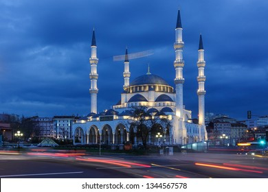 Ankara, Turkey - Melike Hatun Mosque at night