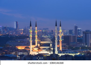 Ankara, Turkey - A night scene from the Capital City of Turkey with Kocatepe Mosque centered
