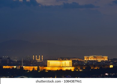Ankara, Turkey - A night scene from the Capital City of Turkey with Kocatepe Mosque and Presidential Palace view