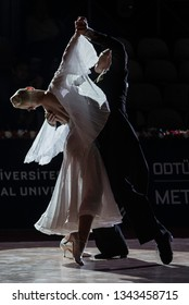 Ankara, Turkey - November 03, 2018. METU Open, a World Dance Sport Federation event is held in Ankara and several couples from different competed for the title in Middle East Technical University.