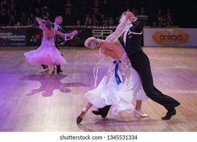 ANKARA, TURKEY - NOVEMBER 04, 2017: People compete in dancesport for METU Open 2017. An international tournament includes WDSF International Open Standard and Latin competitions.