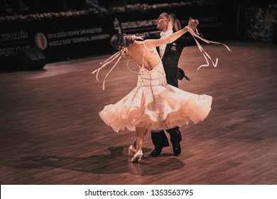 ANKARA, TURKEY - NOVEMBER 04, 2018: People compete in dancesport for METU Open 2018. An international tournament includes WDSF International Open Standard and Latin competitions.