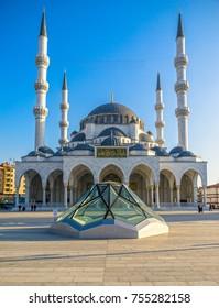 ANKARA, TURKEY - NOVEMBER 09, 2017: New Melike Hatun Mosque, close to Genclik Park, in Ankara, Turkey
