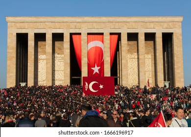Ankara, Turkey - November 10, 2013 : Turkish people are meeting for Ataturk' commemorate cerenomy. Ataturk was dead in 10 November 1938 and every November turkish people are memorialize their leader.