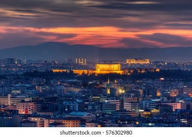 ANKARA, TURKEY - NOVEMBER 10 2016 : Panoramic Ankara and Anitkabir