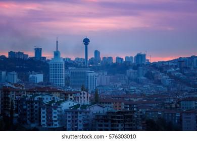 ANKARA, TURKEY - NOVEMBER 10 2016 : Ankara, Sheraton and Atakule
