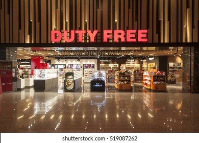 ANKARA, TURKEY - NOVEMBER 14, 2016: Duty Free Shop in Esenboga International airport. Duty-free shops are retail outlets that are exempt from the payment of certain local or national taxes and duties.