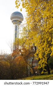 ANKARA, TURKEY - NOVEMBER 19, 2017: Atakule and autumn leaves. Atakule is one one of the primary landmarks of Ankara. - Turkey