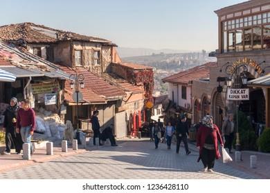 ANKARA, TURKEY, November 2, 2018: People shopping at the bazaar inside Ankara Kaleici, old settlement area inside Ankara Castle, famous landmark of Ankara, Turkey.
