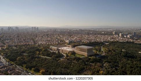 Ankara, Turkey - November 2, 2018:Anitkabir - Mausoleum of Ataturk, Ankara Turkey.Aerial photo of the Anitkabir.Aerial shot