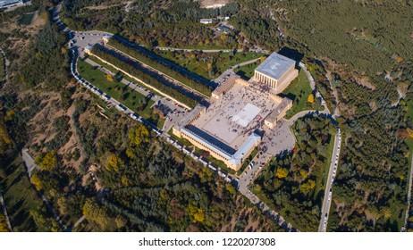 Ankara, Turkey - November 2, 2018:Anitkabir - Mausoleum of Ataturk, Ankara Turkey.Aerial photo of the Anitkabir.