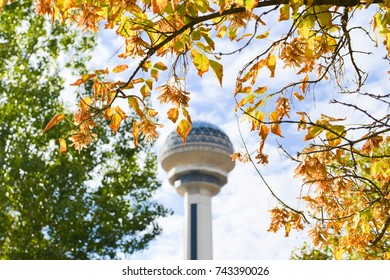 ANKARA, TURKEY - OCTOBER 08, 2017: Atakule and autumn leaves. Atakule is one one of the primary landmarks of Ankara. - Turkey