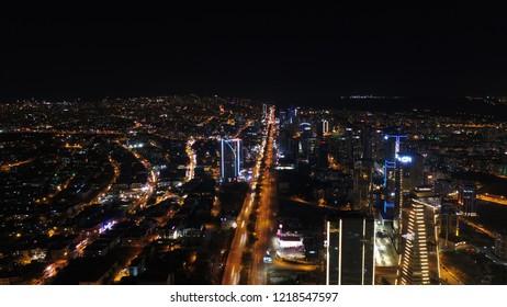 Ankara, Turkey - OCTOBER 20, 2018:  Aerial night shot of city lights at sunset. Ankara city in turkey.Night highway traffic light.Aerial shot.Skyscrapers