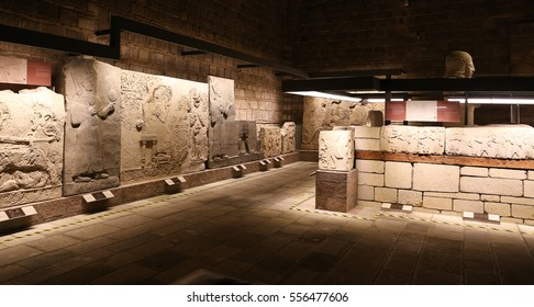 ANKARA, TURKEY - OCTOBER 23, 2016: Carvings in Museum of Anatolian Civilizations. Museum establish Hittite museum in 1921 and reopened as Museum of Anatolian Civilizations in 1968.