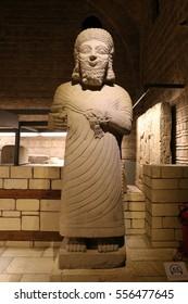 ANKARA, TURKEY - OCTOBER 23, 2016: Sculpture in Museum of Anatolian Civilizations. Museum establish Hittite museum in 1921 and reopened as Museum of Anatolian Civilizations in 1968.