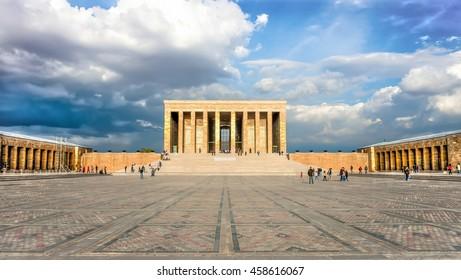 Ankara, Turkey - October 25, 2012: Ataturk Mausoleum, Anitkabir, monumental tomb of Mustafa Kemal Ataturk, first president of Turkey in Ankara, Tomb of modern Turkey's founder lies here.