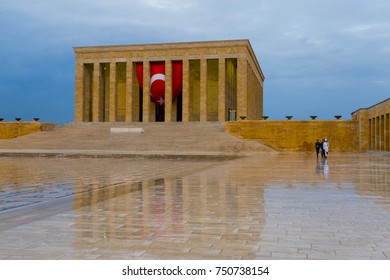 Ankara, Turkey - October 25, 2017: Ataturk Mausoleum, Anitkabir, monumental tomb of Mustafa Kemal Ataturk, first president of Turkey in Ankara, Tomb of modern Turkey's founder lies here.