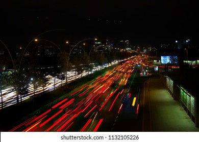Ankara, Turkey - October 27, 2015: Everyday life, rush hour traffic seen in Eskişehir Road, as lots of people try to go to the city center.
