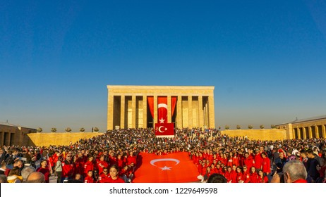 ANKARA, TURKEY - OCTOBER 29, 2018: October 29th Anitkabir Mausoleum visit
